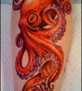 Red simple octopus tattoo