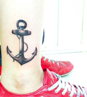 Red trainers and anchor TATTOO BY- Marilia Pontes