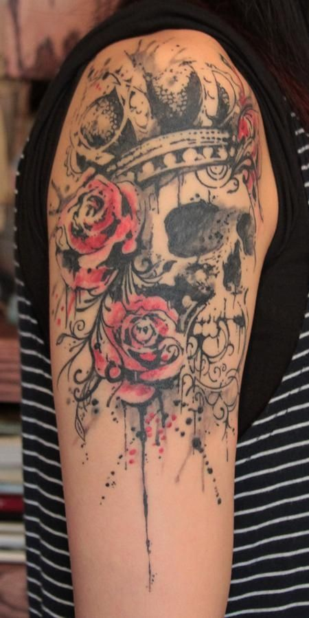 Rose and crown watercolor skull tattoo
