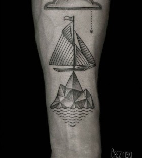 Ship and cloud Ilya Brezinski tattoo