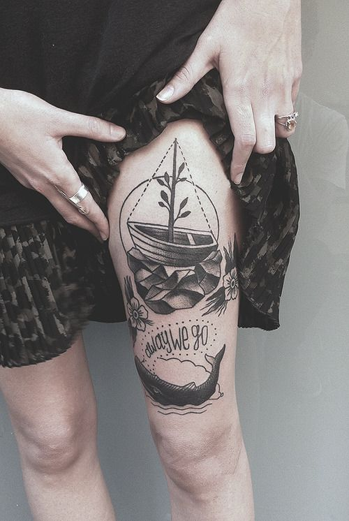 Ship and flowers picture tattoo