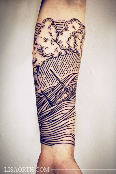 Ships and clouds tattoo by Lisa Orth