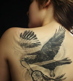 Shoulder black eagle tattoo