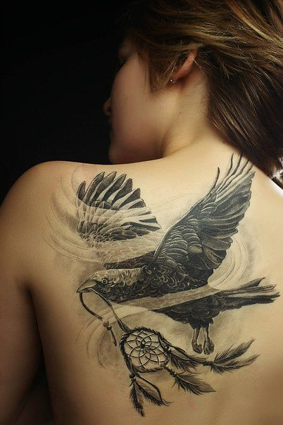 Shoulder black eagle tattoo