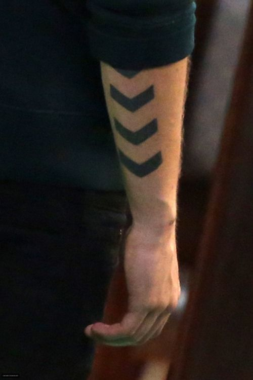 Simple black lines men's arm tattoo