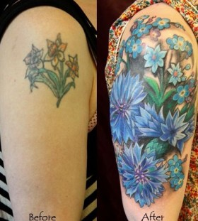 Simple blue cornflower tattoo