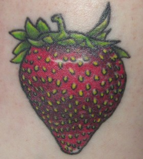 Simple red strawberry tattoo