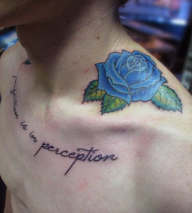 Simple rose blue men's tattoo