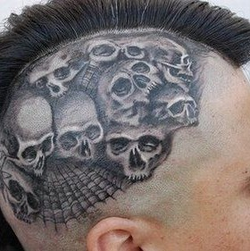 Simple skull tattoo on head