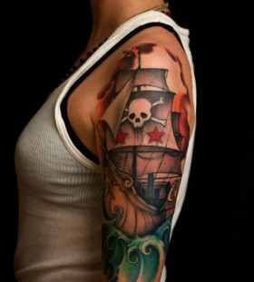 Skull and ship picture tattoo