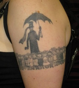 Skull men's and child tattoo by Edward Gorey