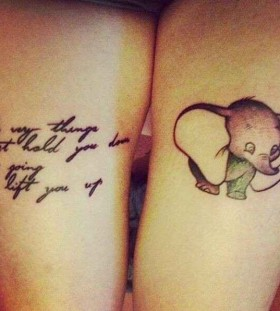 Small elephant and quote tattoo