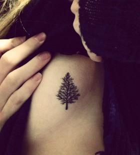 Small lovely black tree tattoo