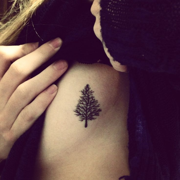Small lovely black tree tattoo