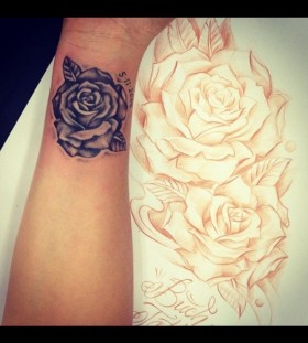 Small number's and rose tattoo