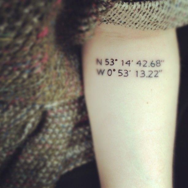 Small numbers, coordinates inspiring tattoo