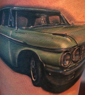 Stunning green car tattoo
