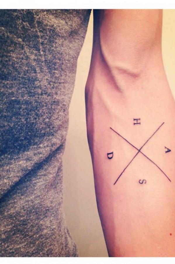 Stunning letters men's arm tattoo