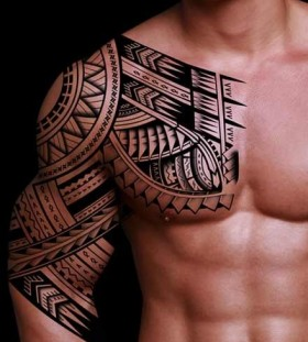 Sun ornaments black men's tattoos