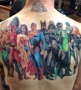 Super herous back tattoo