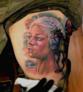 Targaryen girl's and dragon's game of thrones tattoo