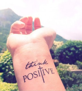 Think positive temporary tattoo