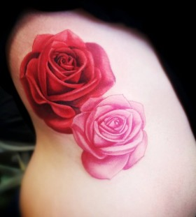 Traditional red and pink rose tattoo