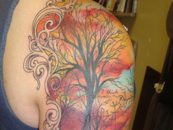 Watercolor simple autumn colorful tattoo