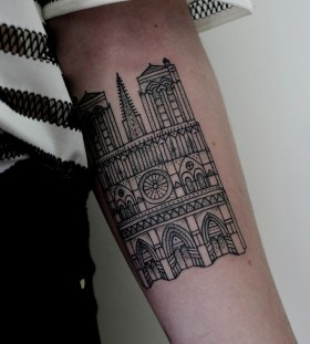 White and black castle Victor J Webster tattoo