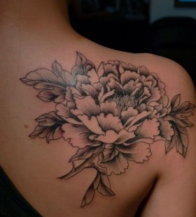 White and black flower tattoo
