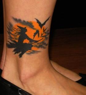 Witch black halloween tattoo