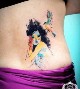 Women's and bird's tattoo by Candelaria Carballo