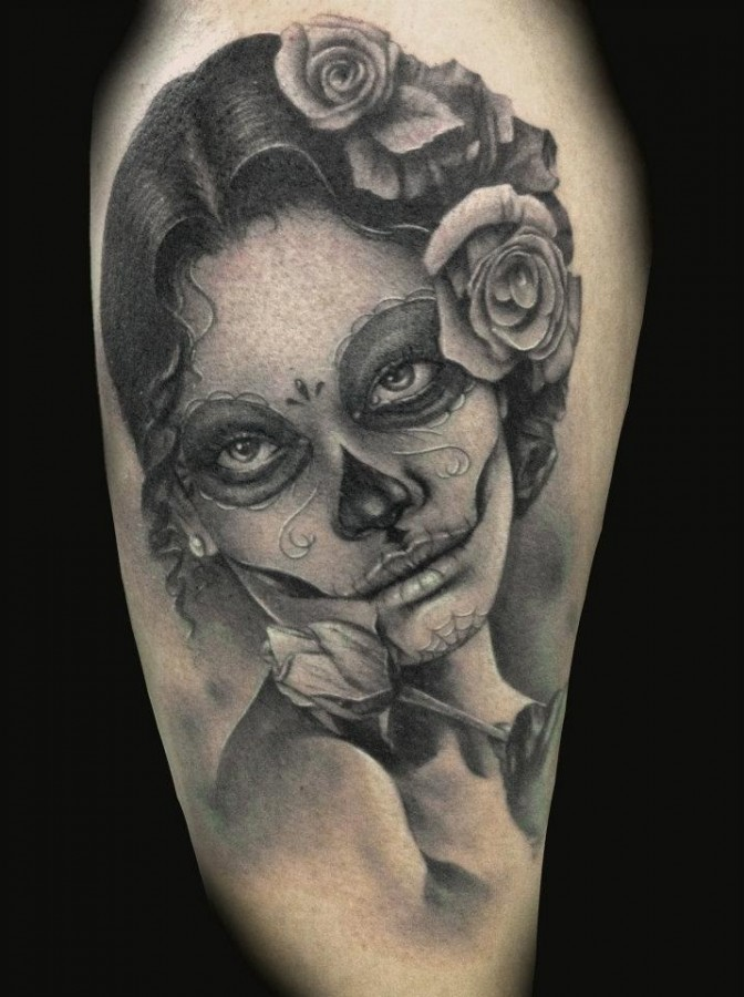 d6b9360af887b Women's face and skull tattoo - | TattooMagz › Tattoo Designs / Ink ...