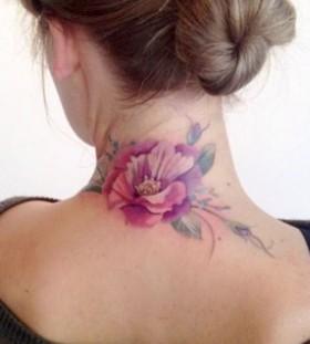 Women's neck flower tattoo