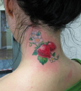 Women's neck strawberry tattoo