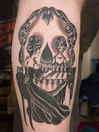Women's playing chess skull tattoo