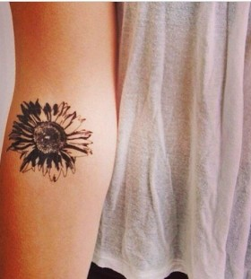 Women's small arm's sunflower tattoo