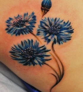 Wonderful blue cornflower tattoo