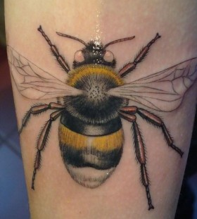 Yellow amazing bee tattoo on arm