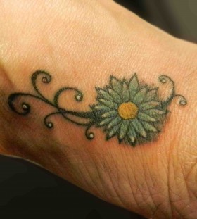 Yellow and blue cornflower tattoo