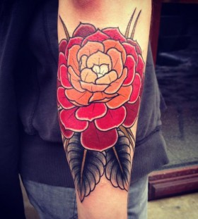 Yellow and red rose tattoo
