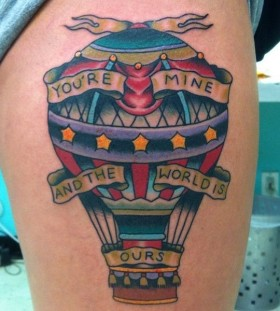 You're mine and the world is quote American Traditional Tattoo