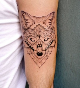 Black face fox tattoo