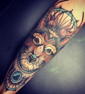 Black lovely fox tattoo