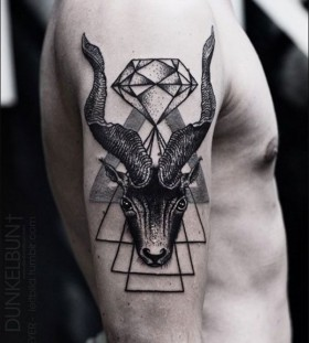 Diamond, crystal and animal tattoo