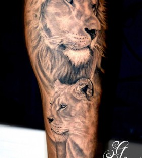 Family of lions animal tattoo