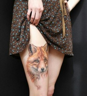 Gorgeous eyes fox tattoo