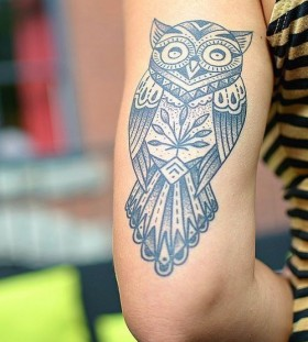 Nice black owl animal tattoo