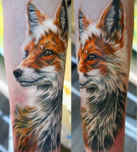 Realistic face fox tattoo