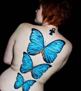 Girls butterflies blue back tattoo